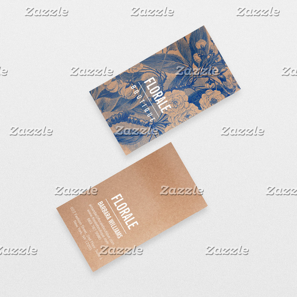 Modern brown paper chic vintage flowers blue paint