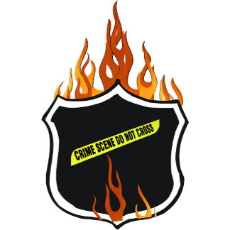 Flaming Tattoo Police Badge