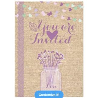 Burlap and Lace Purple Mason Jar Weddings