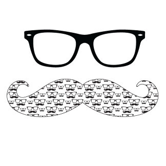 Geek Glasses and Patterned Moustache