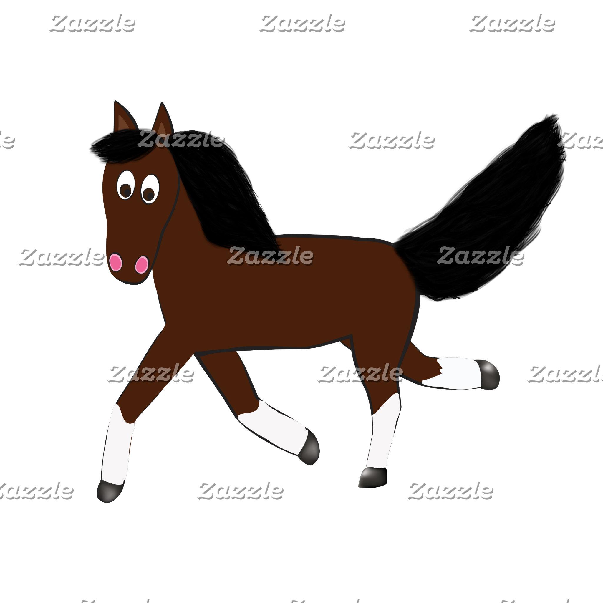 Cute Cartoon Bay Horse