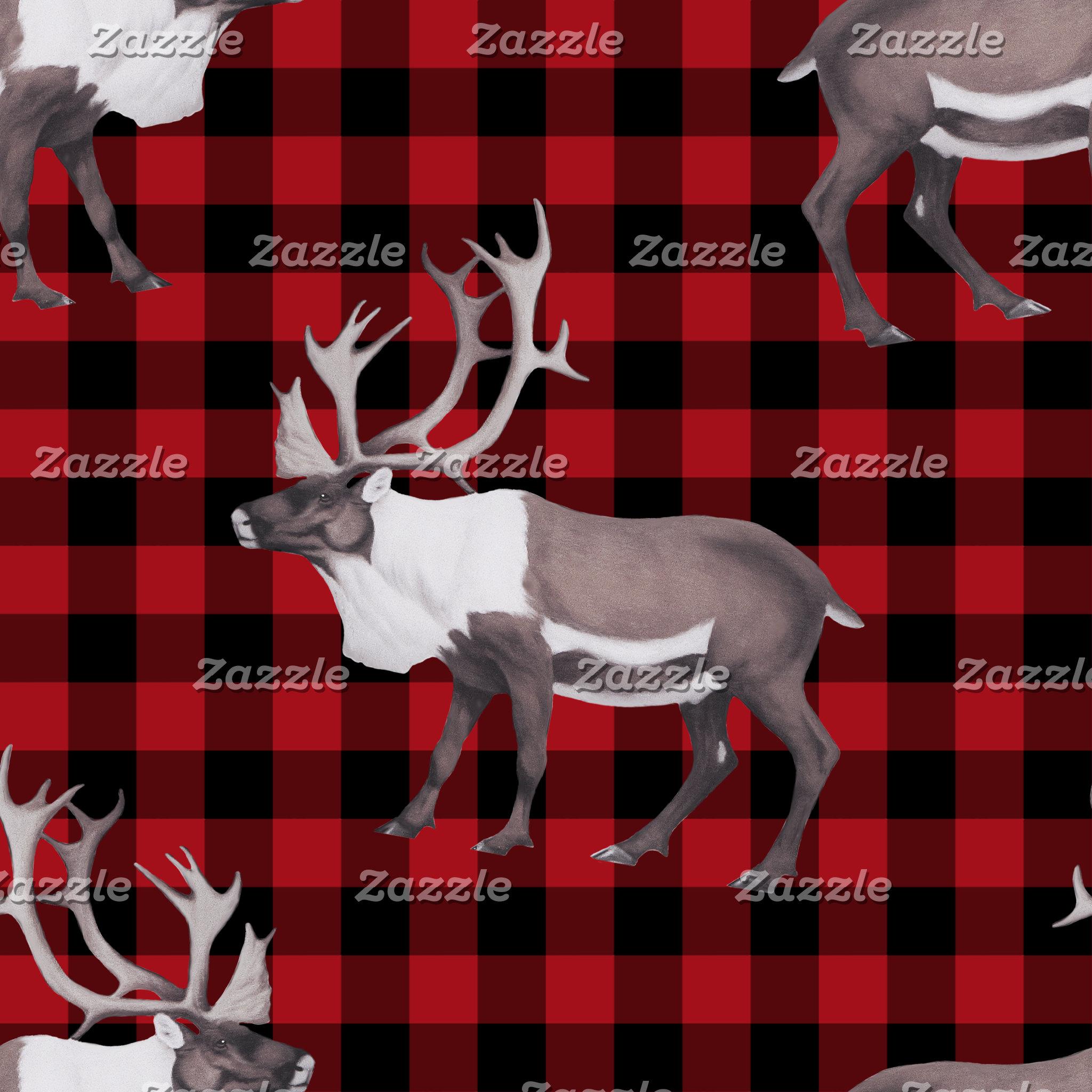 Caribou Reindeer Red Black Plaid