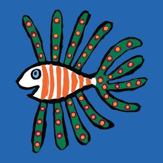 Green and Orange Twin Fin Fish