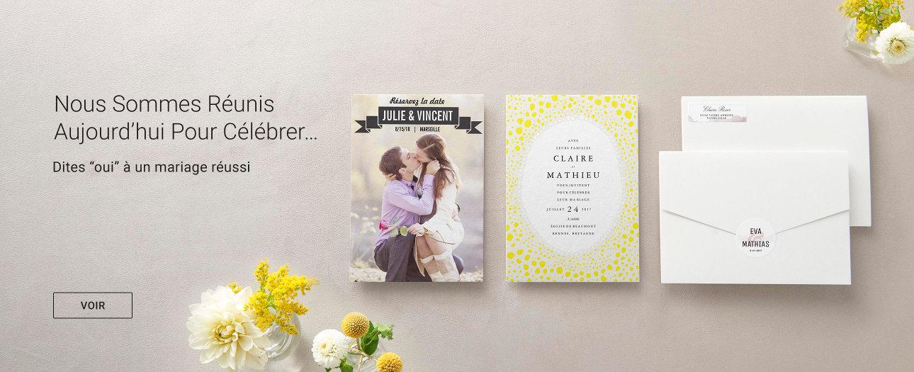 Invitations, cartes réservez la date, faire-part et toute la papeterie pour votre mariage