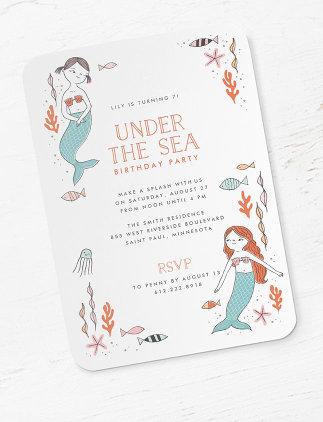 Meerjungfrauen Geburtstagseinladungen