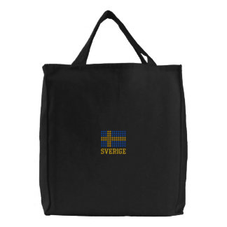 Svenska flaggan varukorg - schwedische bestickte tragetasche