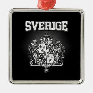 Sverige Emblem Quadratisches Silberfarbenes Ornament