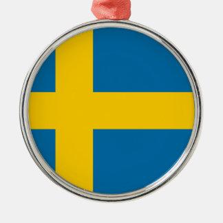 Sveriges Flagga - Flagge von Schweden - Rundes Silberfarbenes Ornament