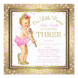 Sweel 3. Geburtstag Party kleiner Prinzessin- Quadratische 13,3 Cm Einladungskarte