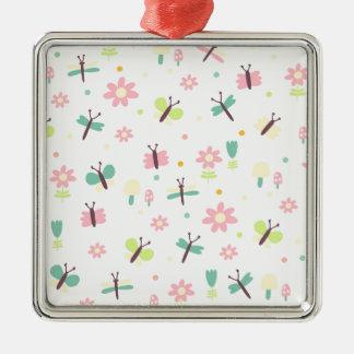 Sweet fly quadratisches silberfarbenes ornament
