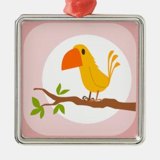 sweet yellow bird, süßer gelber Vogel Silbernes Ornament