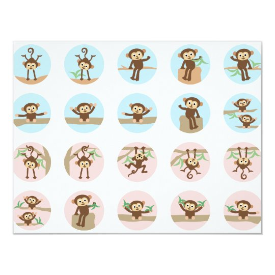 SweetLittleMonkeyAll Carton D'invitation 10,79 Cm X 13,97 Cm