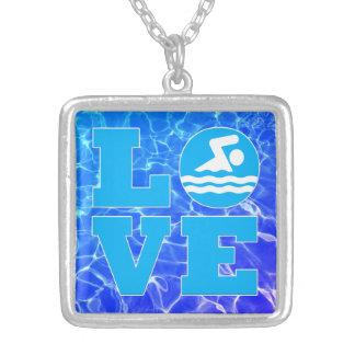 Swim LIEBE Pool-Wasser-Halskette für Schwimmer Versilberte Kette