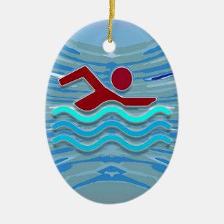 SWIM Schwimmer-Liebe-Herz-rosaroter Pool NVN695 Keramik Ornament