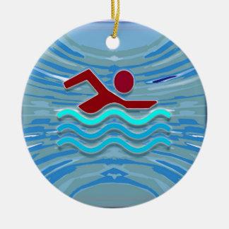 SWIM Schwimmer-Liebe-Herz-rosaroter Pool NVN695 Rundes Keramik Ornament