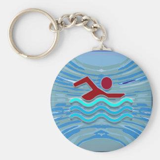 SWIM Schwimmer-Liebe-Herz-rosaroter Pool NVN695 Schlüsselanhänger