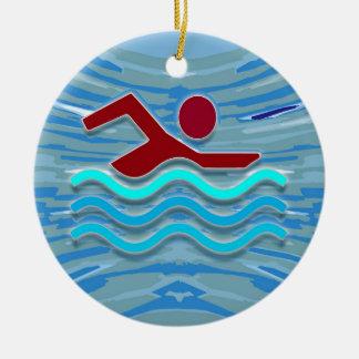 SWIM Schwimmer-Liebe-Herz-rosaroter Pool SPASS Keramik Ornament