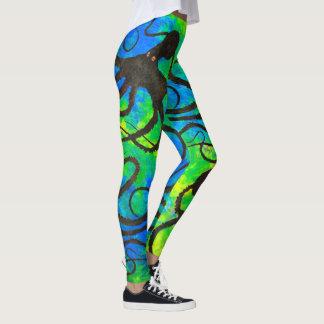 Sybilles Krake auf blauem Grün - Gamaschen Leggings