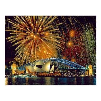 Sydney unter Feuerwerks-Postkarte Postkarte