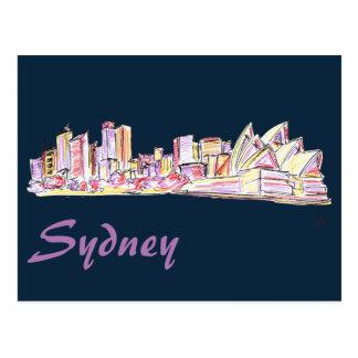 Sydneyskyline-Zeichnen Postkarte
