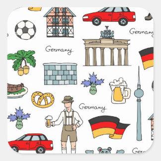 Symbol-Muster Deutschlands | Quadratischer Aufkleber