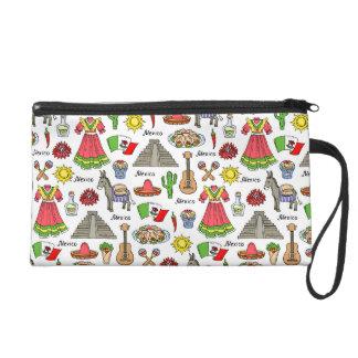 Symbol-Muster Mexikos   Wristlet Handtasche