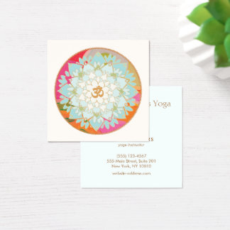 Symbole de fleur et de l'OM de Lotus d'instructeur Carte De Visite Carré