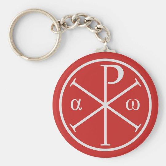 Symbole des Jesus Christus: Chi-Rho, Alpha und Schlüsselanhänger