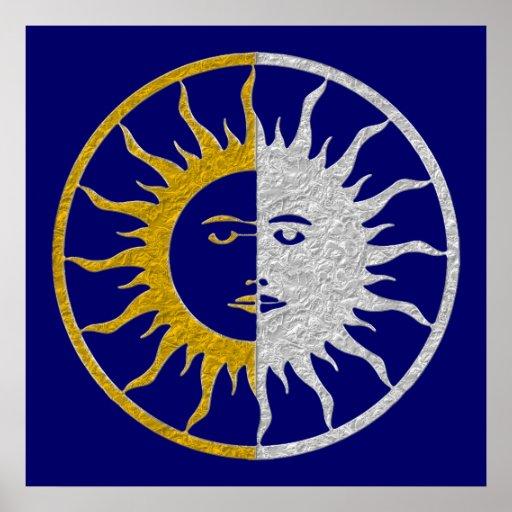 Symbole du SOLEIL et de LUNE - argent d'or Affiche