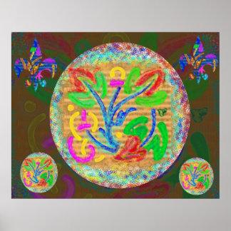 Symbolische Leben-Kraft - mit Blumen Poster
