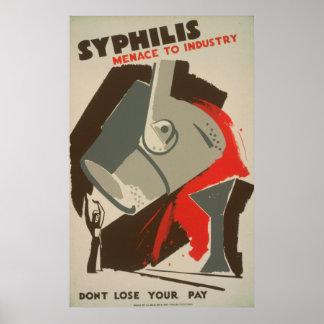 Syphilis-Bedrohung zu Industrie WPA-Plakaten 1940 Poster