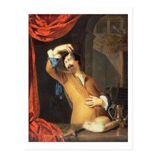 T31553 ein Kavalier stehend an einem Fenster, das Postkarte