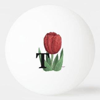 T für Tulpe-Blumen-Alphabet-Monogramm-Kunst Tischtennis Ball