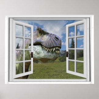 T-Rex Dinosaurier-Bild-Ansicht-Fake-Fenster Poster