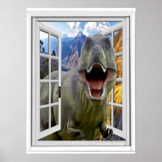 T-Rex Dinosaurier-Bild-Fake-Fenster Poster