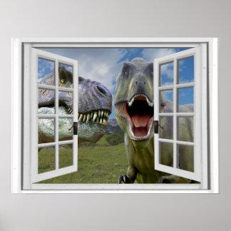 T-Rex Dinosaurier-Imitat-Fenster-Ansicht Poster