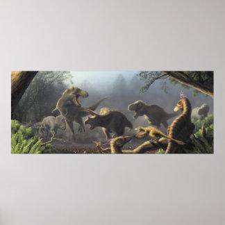 T.rex Jagd-Szenenplakat Poster