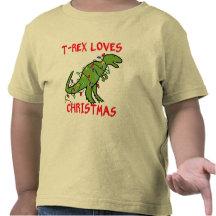 T-Rex Loves Christmas T Shirts
