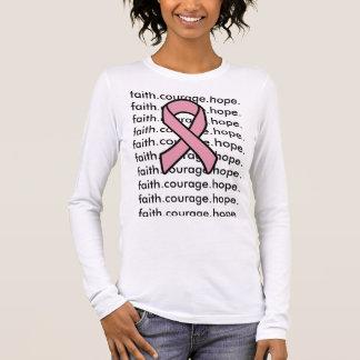 T-shirt À Manches Longues Foi de ruban de cancer du sein