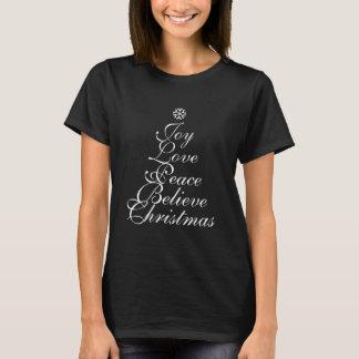 T-shirt Arbre de joie de Noël avec la chemise de mots
