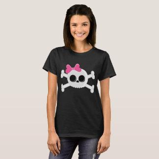 T-shirt Crâne mignon d'Emo avec le ruban