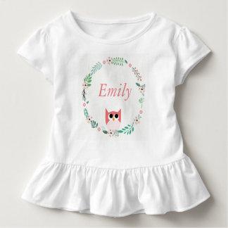 T-shirt de bébé de hibou de forêt de région boisée