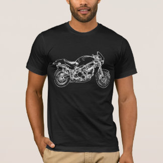 T-shirt Dessin blanc de moto