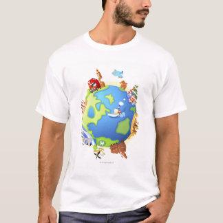 T-shirt Endroits célèbres de déplacement d'avion divers de