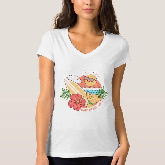T - shirt Frau Leertaste Hals V Surfing