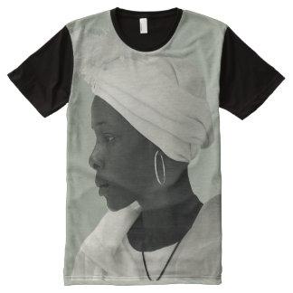 T-Shirt ganz über Vintagem schwarzem T-Shirt Mit Komplett Bedruckbarer Vorderseite