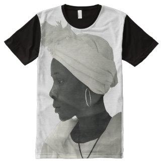 T-Shirt ganz über Vintagem schwarzem Mädchen blanc T-Shirt Mit Komplett Bedruckbarer Vorderseite
