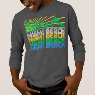 T - Shirt gelbes Grün-Retro Miami Beach Florida