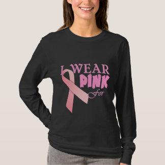 T-shirt Je porte le rose pour Tempate nommé pour le cancer