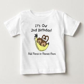 T-shirt jumeau customisé de garçons de singes